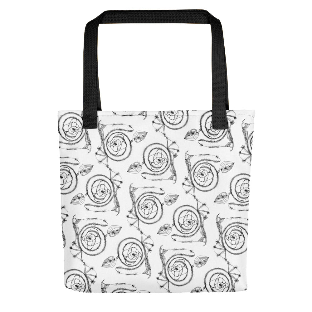 Black Spirals on White Tote Bag