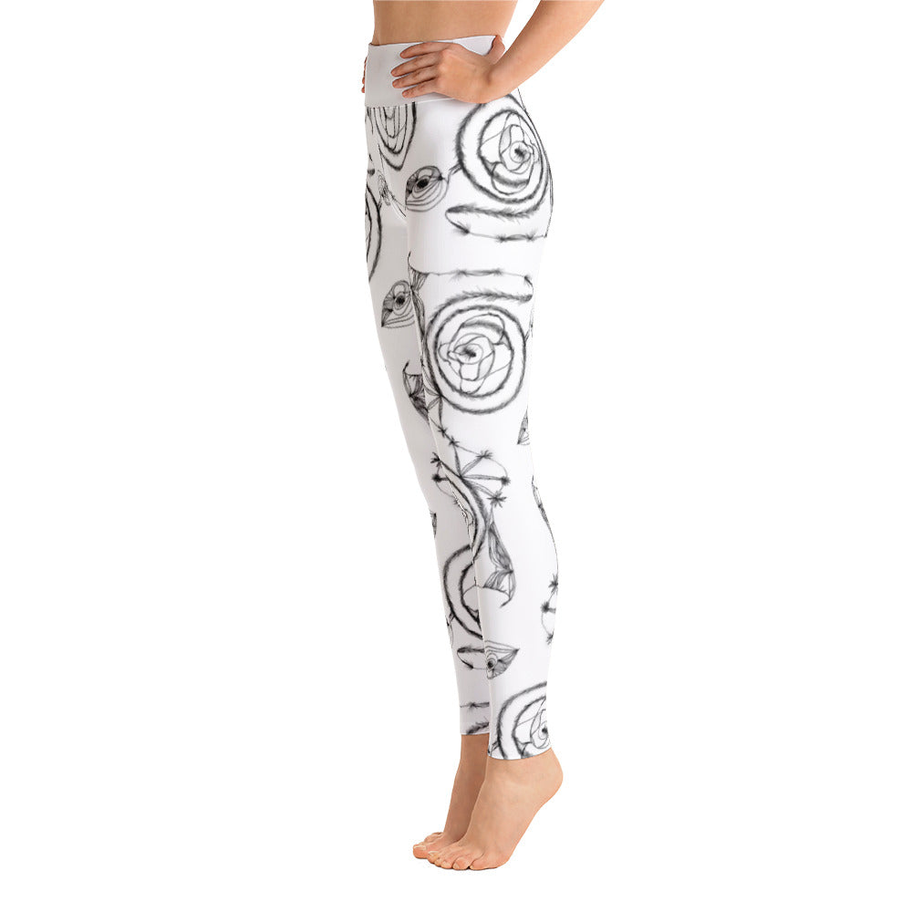 Black Spirals on White Yoga Leggings