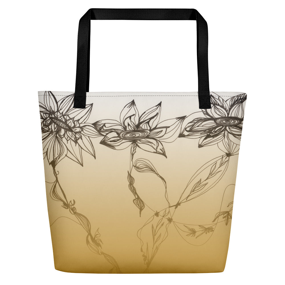 Orange Floral Art Big Tote Bag