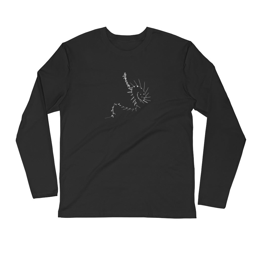 White Dragon Long Sleeve Fitted Crew - Black & Metal