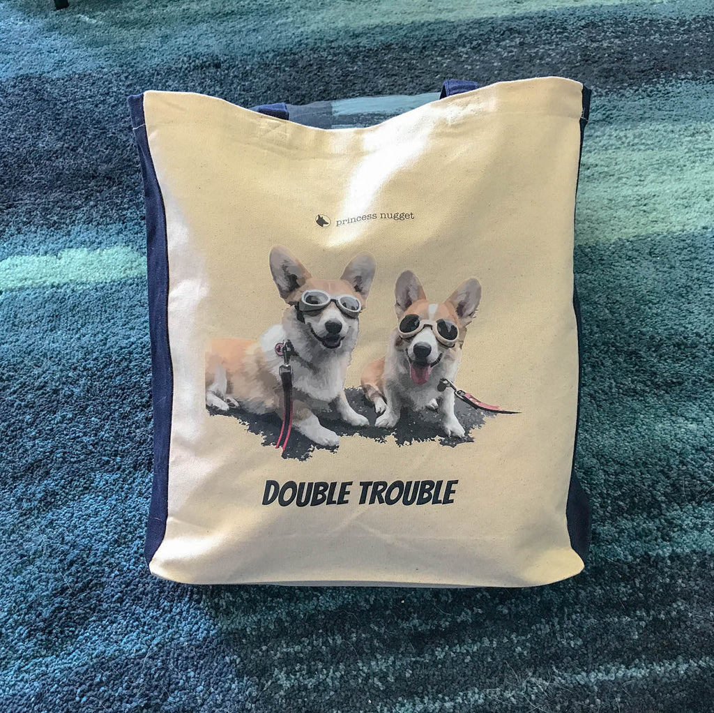 Corgi Tote bag / Shopper Double Trouble 100% Cotton - Princess Nugget Shop