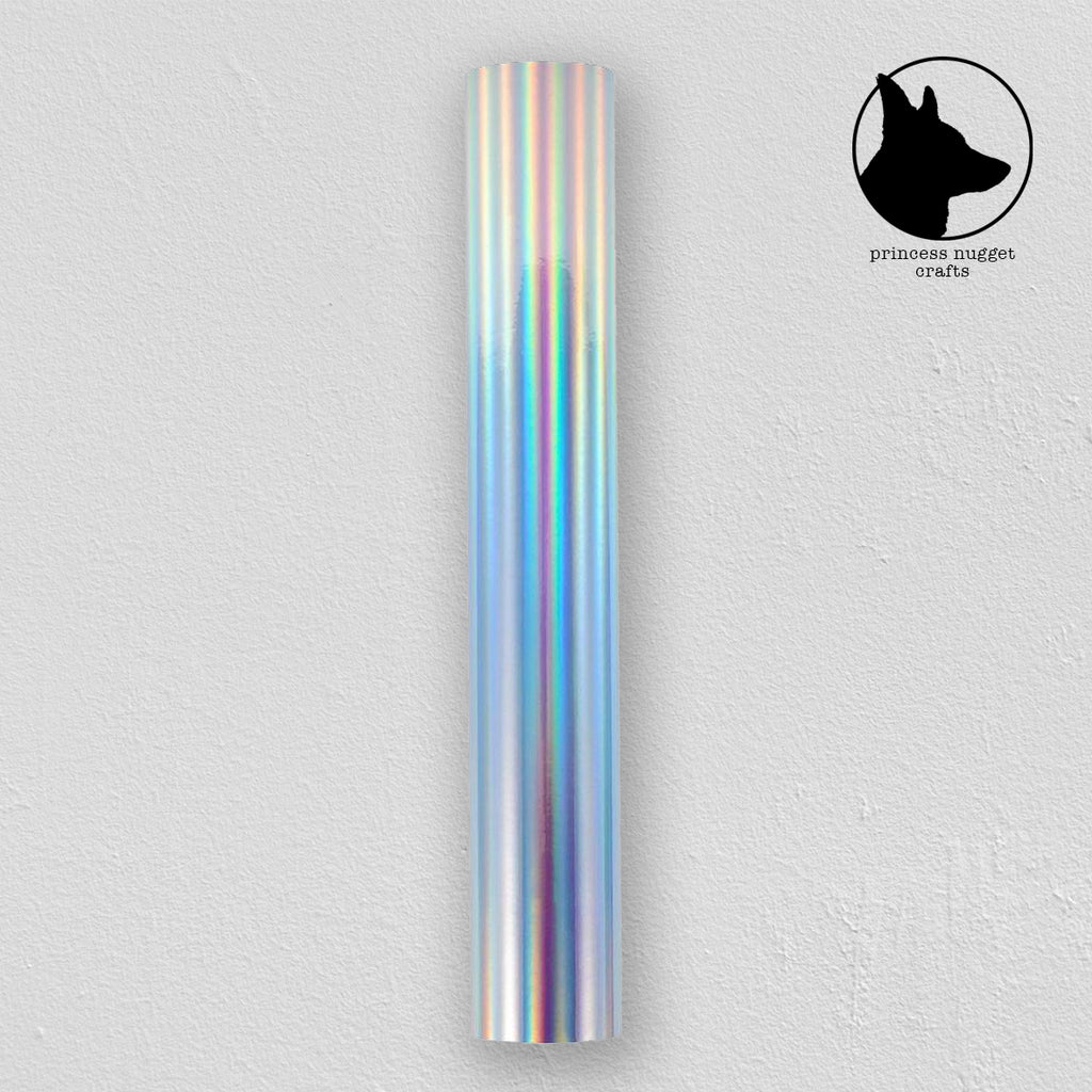 Holographic Glossy Rainbow Silver vinyle - Princess Nugget Shop