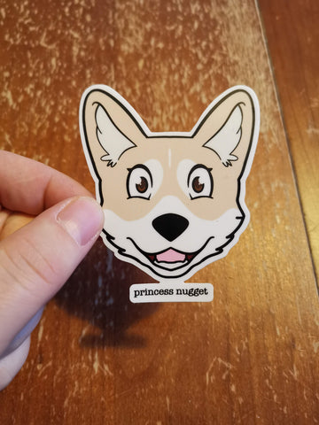 Corgi sticker - Princess Nugget the Corgi