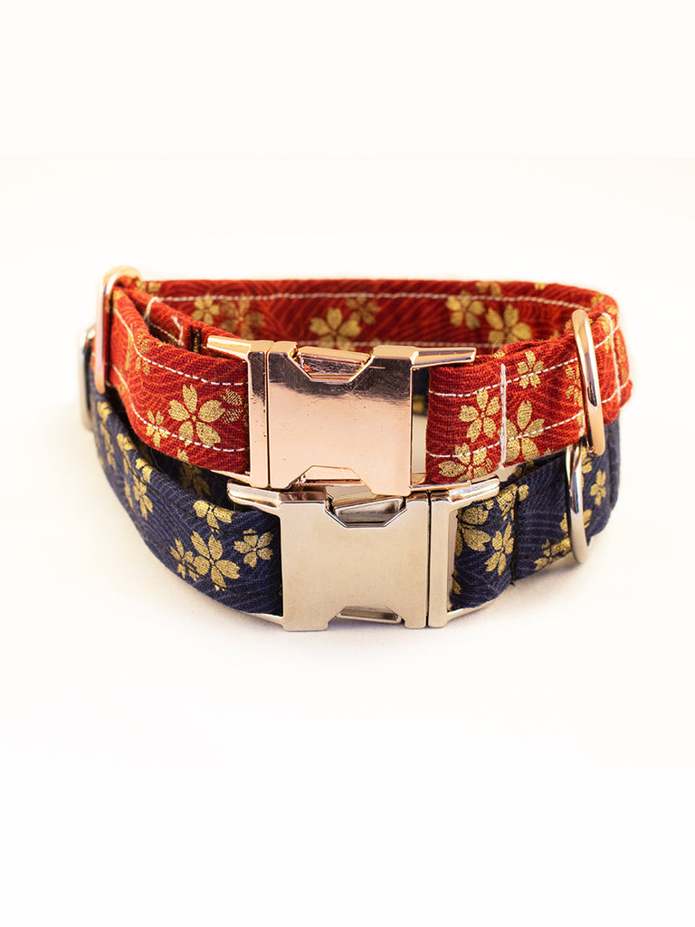 "Handmade dog collar ""Red and Blue Sakura"" - Princess Nugget Shop"