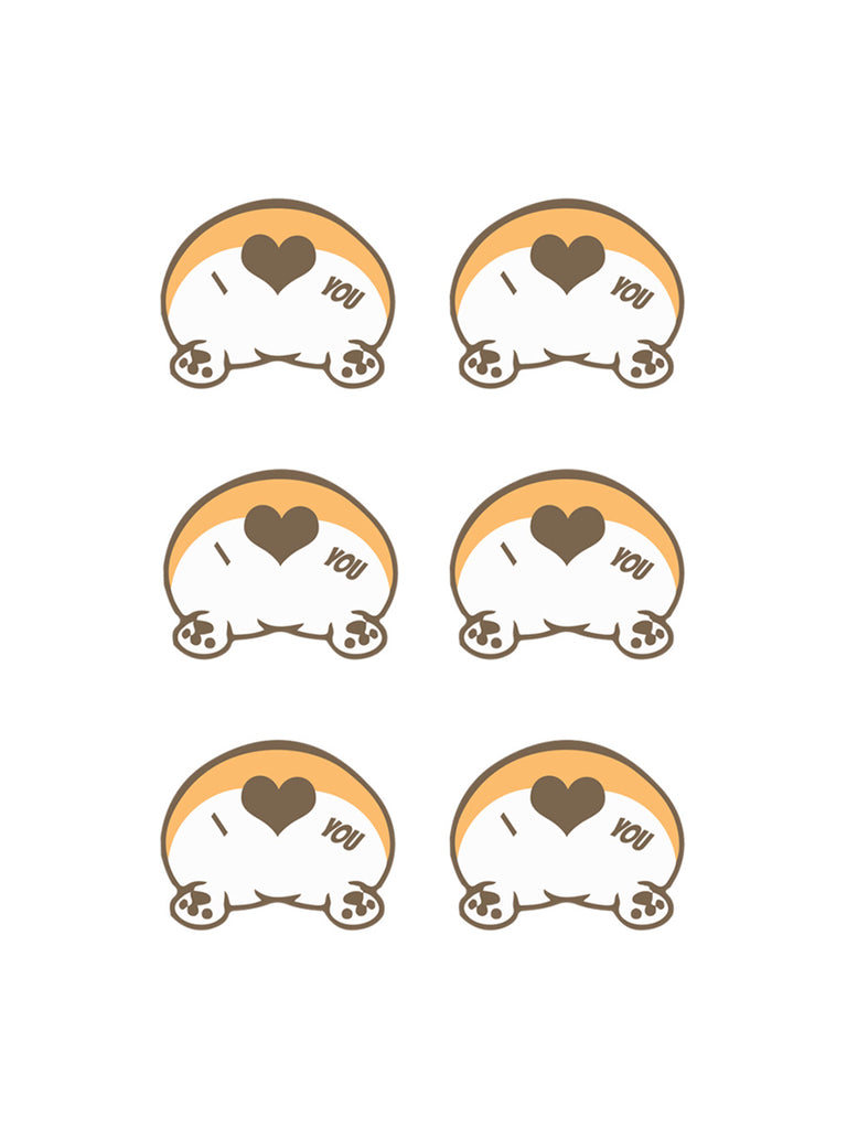 Corgi butt love Stickers - Princess Nugget Shop