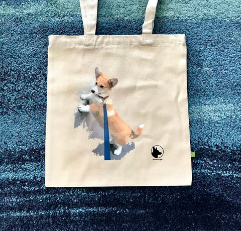 Corgi Tote bag Curious Nugget 100% BIO Cotton