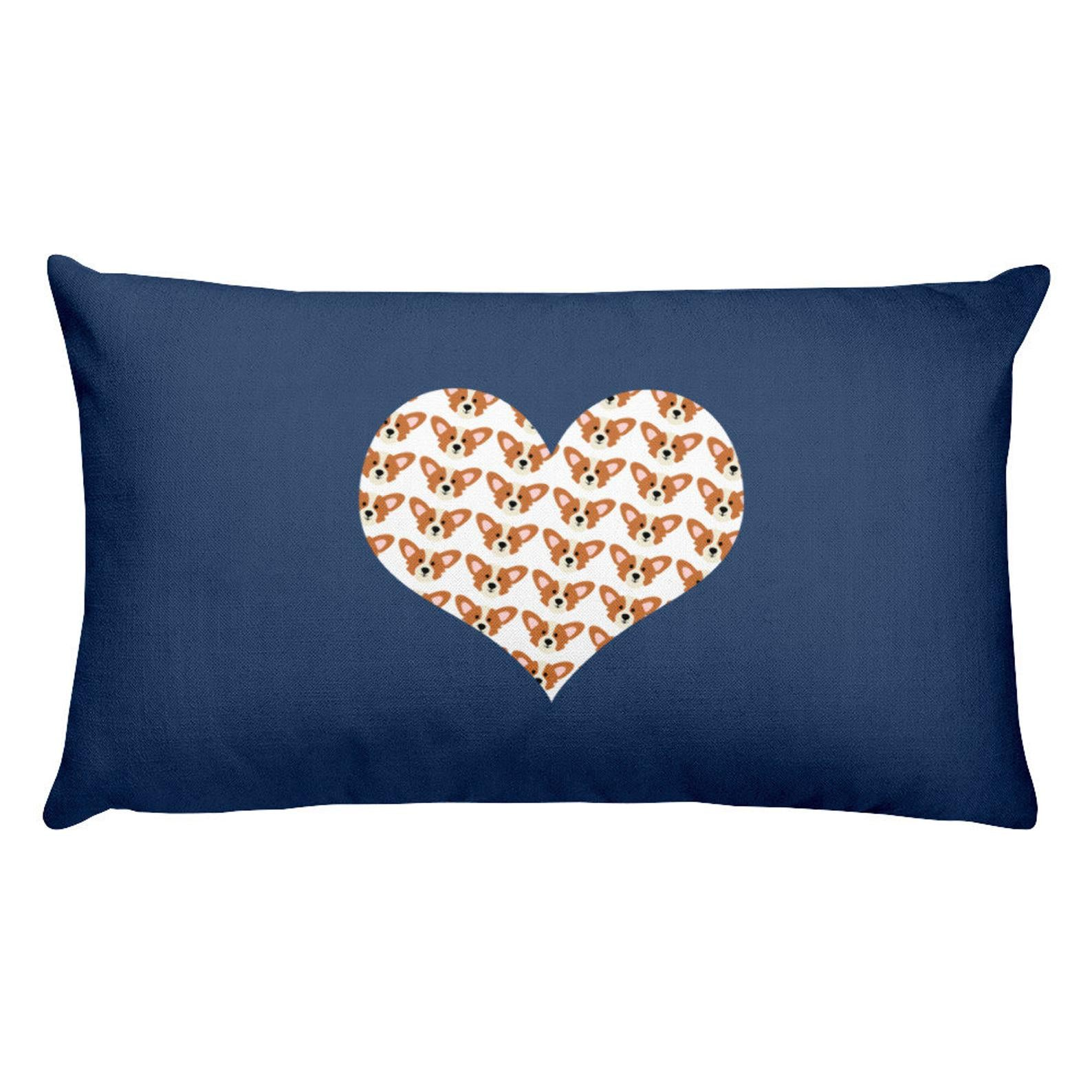 Corgi love Heart Premium Pillow Blue