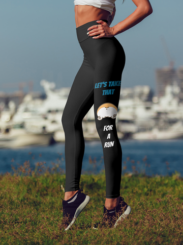 Corgi butt run Leggings - Black