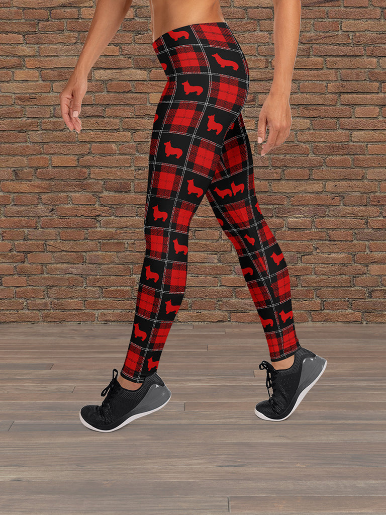 Corgi Leggings Tartan Red/Black - Princess Nugget Shop