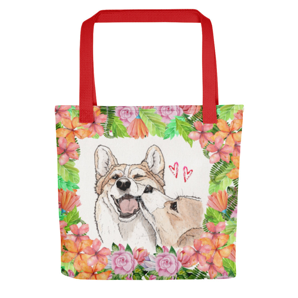 Valentines corgi love Tote bag - Princess Nugget Shop