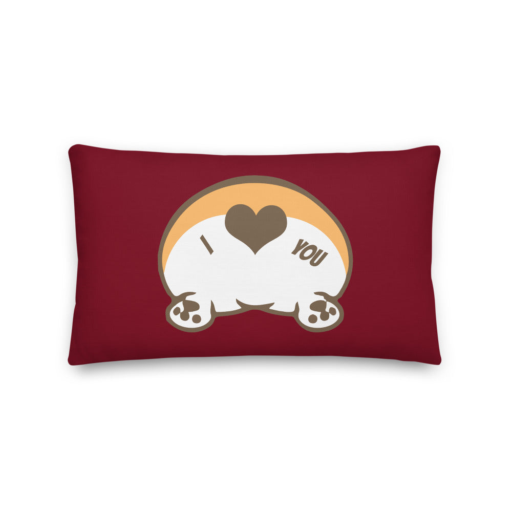 Premium valentines corgi butt Pillow - Red/Purple/Black - Princess Nugget Shop