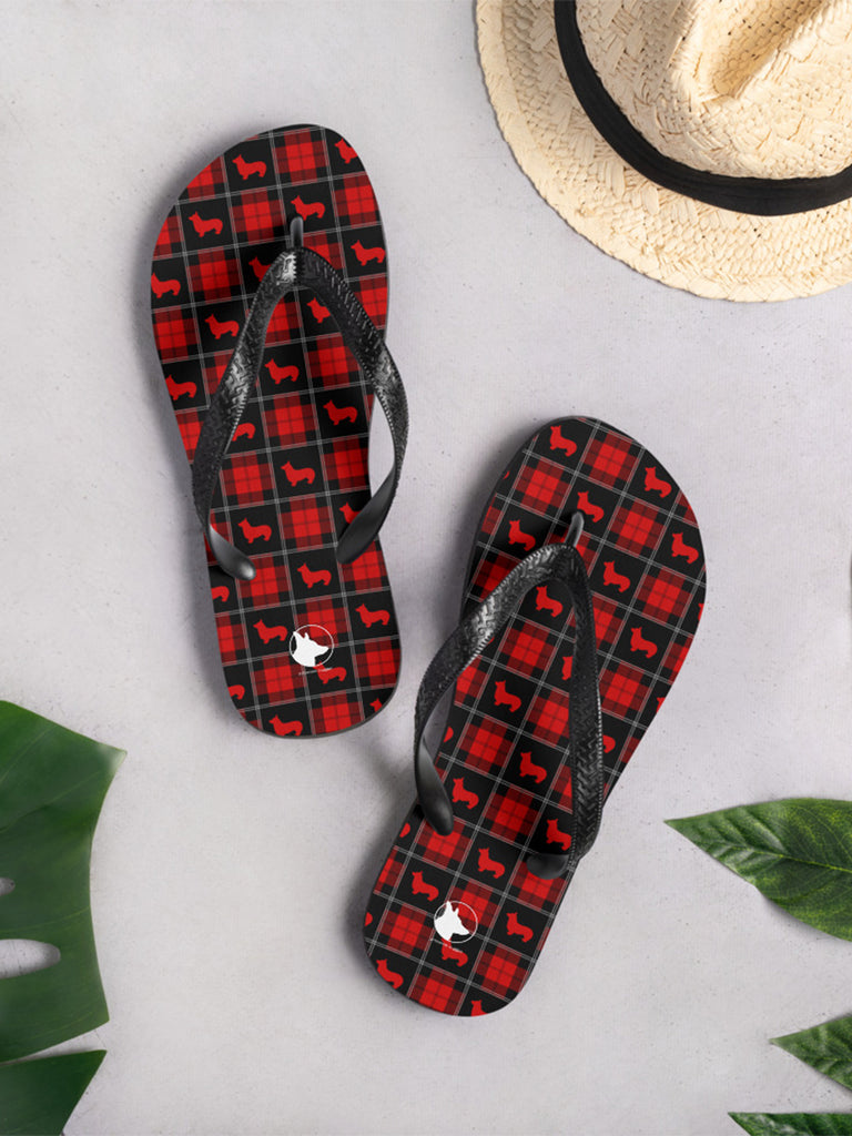 Corgi tartan Flip-Flops Blue or Red - Princess Nugget Shop
