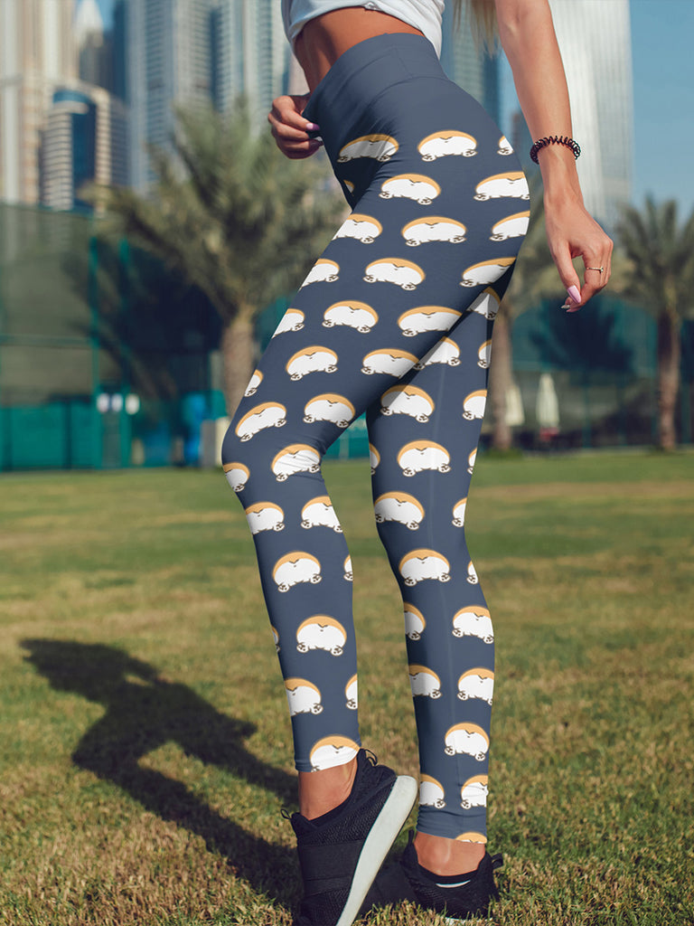 Mini corgi butts Leggings Blue - Princess Nugget Shop