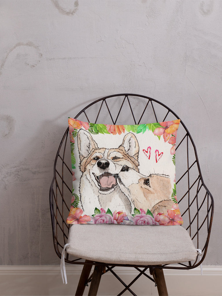 Valentines day corgi love Premium Pillow - Princess Nugget Shop
