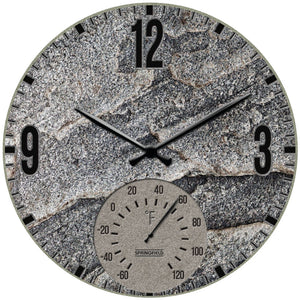 "Springfield(R) Precision 92333 12"""" Poly Resin Clock with Thermometer (Slate Stone)"