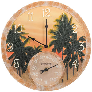 "Springfield(R) Precision 92669 14"""" Poly Resin Clock with Thermometer (Coconut Bay)"
