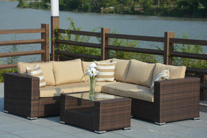 Evie Indoor/ Outdoor 4-piece Wicker Seating Sectional Sofa Set
