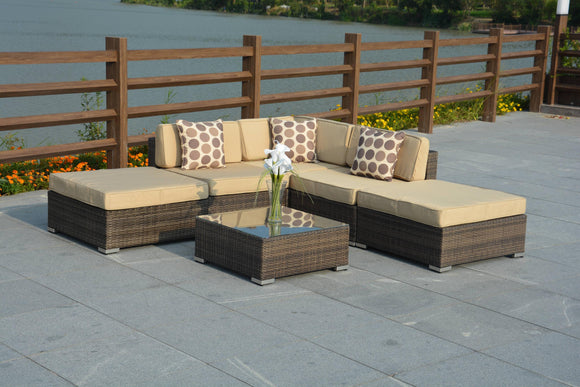 Panama Outdoor Brown Wickers Sectional Patio Set