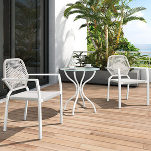 3 Piece All-Weather Outdoor Bistro Set, Indoor and Outdoor Bistro Table and Chair Set, Resin Wicker Outdoor Patio Furniture Dining Set- White
