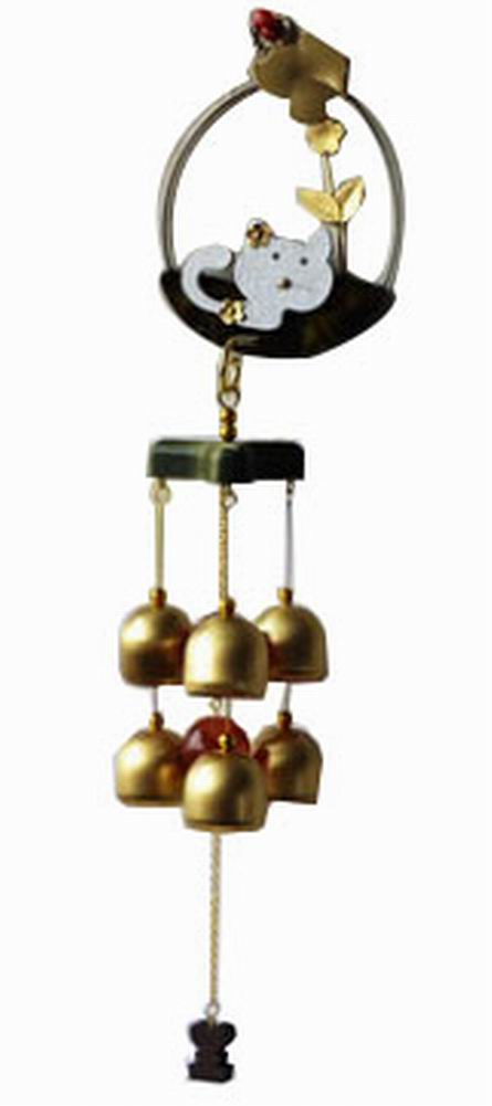 Indoor/Outdoor Decor Bronze Wind Chimes Wind Bells with 6 Bells, Style B