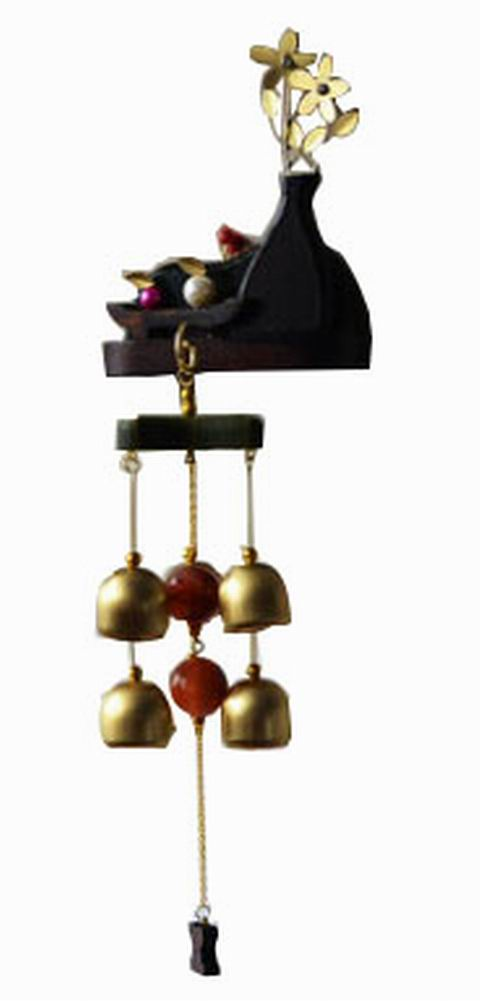 Indoor/Outdoor Decor Bronze Wind Chimes Wind Bells with 6 Bells, Style C