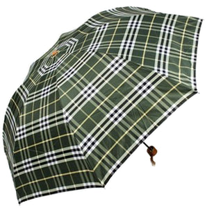 Green Checks Automatic Compact Umbrella Patio Umbrella