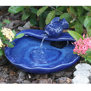 Ceramic Solar Koi Fountain Blue
