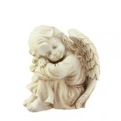 "9.5"" Heavenly Gardens Distressed Ivory Resting Cherub Angel Outdoor Patio Garden Statue"