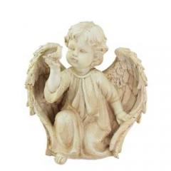 "10.25"" Ivory Cherub Angel on Knee with Dove Outdoor Garden Statue"
