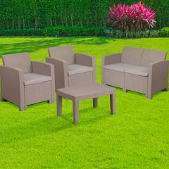 4 Piece Outdoor Faux Rattan Chair, Loveseat and Table Set Dark Gray