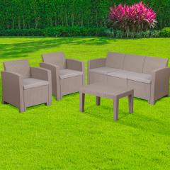 4 Piece Outdoor Faux Rattan Chair, Sofa and Table Set Dark Gray