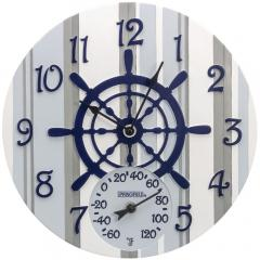 "Springfield Precision 92668 14"" Poly Resin Clock with Thermometer (Captain's Wheel)"