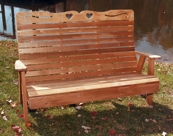 4' Cedar Royal Country Hearts Garden Bench