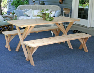 "Red Cedar 27"""" Wide 4' Backyard Bash Cross Legged Picnic Table w/ Detached Benches"