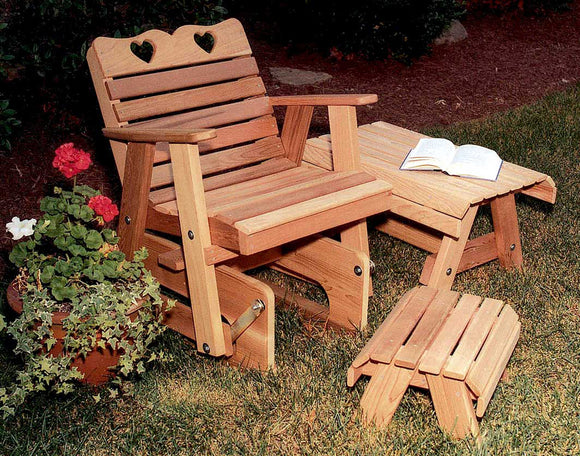 Cedar Country Hearts Rocking Glider Chair