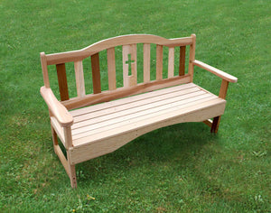 5' Cedar Holy Cross Garden Bench