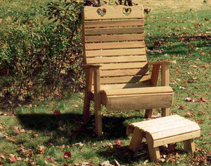 Cedar Royal Country Hearts Patio Chair & Footrest Set