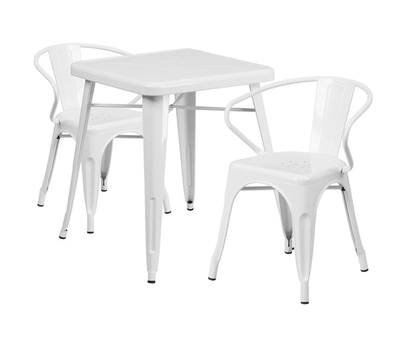 Flash Furniture White Metal Indoor Outdoor Table Set With 2 Arm Chairs CH-31330-2-70-WH-GG