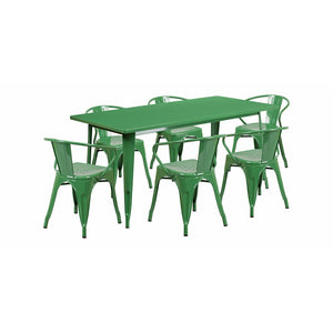 "Flash Furniture 31.5"""" x 63"""" Rectangular Green Metal Indoor Table Set with 6 Arm Chairs ET-CT005-6-70-GN-GG"