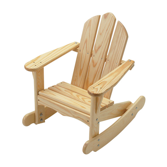 Little Colorado Kids Seating Childs Adirondack Rocking Chair Sanded and Unfinished