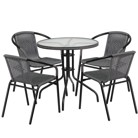 28'' Round Glass Metal Table with Rattan Edging and 4 Rattan Stack Chairs
