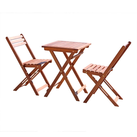 3-Piece Premium  Eucalyptus Wood Bistro Set (1 Table & 2 Chairs)