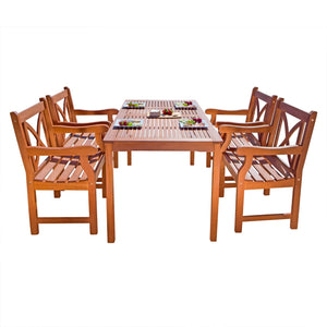 5-Piece Outdoor Eucalyptus Dining Set