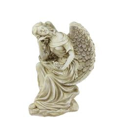 "12"""" Heavenly Gardens Distressed Almond Brown Daydreaming Angel with Rose Outdoor Patio Garden Statue"