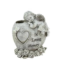 "6.5"""" Religious """"In Loving Memory"""" Sleeping Bereavement Angel Outdoor Garden Statue Bud Vase"
