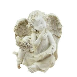 "8.5"""" Heavenly Gardens Distressed Ivory Sitting Angel with Book & Friend Outdoor Patio Garden Statue"