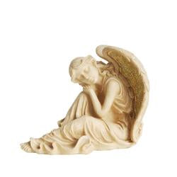 "12"""" Distressed Ivory & Golden Mosaic Glass Winged Religious Resting Angel Outdoor Patio Garden Statue"