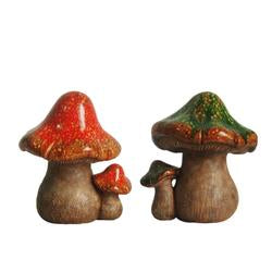 Set of 2 Green and Orange Mottled Double Mushroom Outdoor Garden Patio Statue 11""""