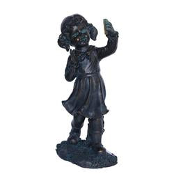 "18"""" Distressed Black & Bronze Girl with Cell Phone Solar Powered LED Lighted Outdoor Patio Garden Statue"