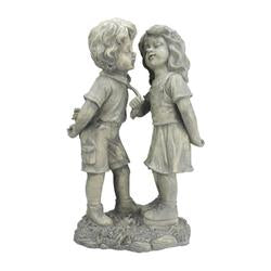 "18.5"""" Weathered Gray Stone Boy & Girl First Kiss Outdoor Patio Garden Statue"